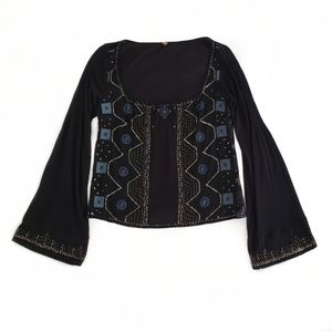 Free People beaded bell sleeve top black XS small